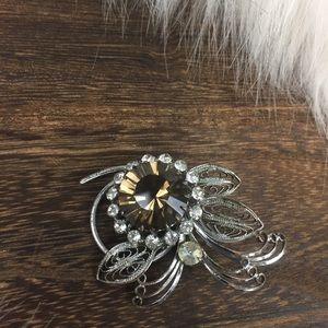 Vintage crystal flower pin